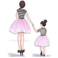Mother daughter ballerina illustration,Mother daughter holding... (£8.18) ❤ liked on Polyvore featuring home, home decor, wall art, pink home decor, ballet wall art, ballerina wall art, hand illustration and pink wall art