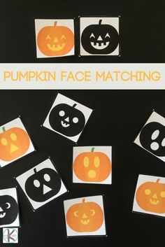 FREE Pumpkin Faces Matching Game - this free printable game is perfect for October, Halloween to help kids discern between similar carved pumpkin faces in this fun to play matching game for toddler, preschool kindergarten