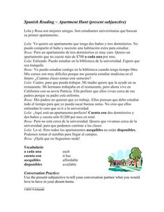 Subjunctive Spanish Reading and Worksheet ~ Lectura en el subjuntivo Learning Spanish For Kids, Spanish Activities, Teaching Spanish, Learn Spanish, Spanish Worksheets, Teaching Resources, Teaching Ideas, Learning Apps, Learning Quotes