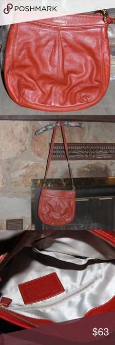 Coach Leather Crossbody  Purse Coach -soft leather - Crossbody purse.  Long and short strap.  Straps are removable - Excellent condition - rarely used like new - look for the orange wallet! Coach Bags Crossbody Bags