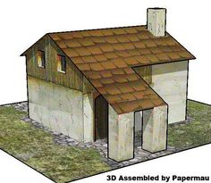 PAPERMAU: Medieval House With Plaster Wall Paper Model - by Dragon`s Lair  By Dragon`s Lair website, here is an old paper model of a house, in only one sheet of paper, that is perfect for Medieval Dioramas, RPG and Wargames.r