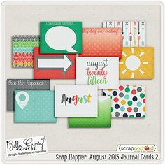 Snap Happier: August 2015 Journal Cards 2 by Bella Gypsy Designs