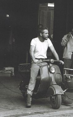 Paul Newman in Italy on Vespa, 1965