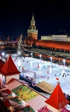 A skating rink on the Red Square in Moscow, Russia.