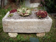 Make super-realistic hypertufa pots or stone-like troughs. How to guide: Hypertufa Recipe - create a natural looking stone-like material on a budget.
