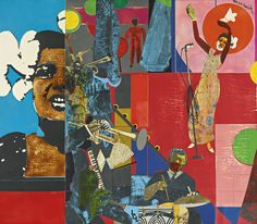 Romare Bearden Afro-American), Billie Holiday Printed paper and fabric collage on fiberboard, by cm. Billie Holiday American) Jazz musician and singer-songwriter Harlem Renaissance Artists, Renaissance Artworks, Renaissance Kunst, Billie Holiday, Collages, Collage Art, Romare Bearden, African American Artist, American Artists