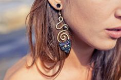 Spiral Never Ending, Brass And Macrame Earrings, Black And Purple