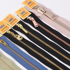 Metal brass zippers