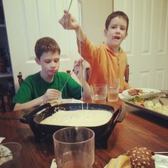Fondue: cheese, milk, flour - easy recipe &  lots of ideas for dippers. Chocolate: heavy cream, chocolate, butter, vanilla.