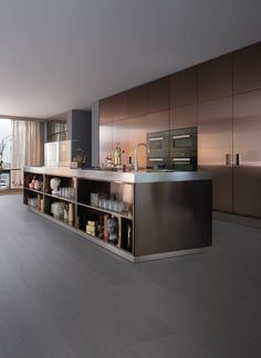 Very modern kitchen that's clean and simple. ARCLINEA Italia Kitchen in Bronze Kitchen Furniture, Kitchen Interior, Furniture Design, Room Interior, Kitchen Dinning, New Kitchen, Küchen Design, Home Design, Bronze Kitchen