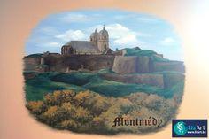 Muurschildering Montmedy in restaurant