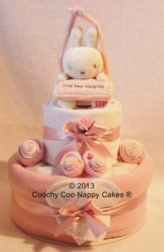 Baby Girl Pink Miffy Nappy Cake by Coochy Coo Nappy Cakes® www.coochycoonappycakes.co.uk