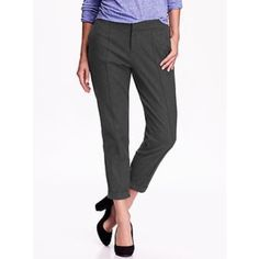 Mid-rise Brushed Twill Pants Gray trousers, double hook and eye closure. Elasticized back waist. 100% cotton. Cuffed at the ankle. Pleating along the front legs. I added the photos of the red pair to show the detail since it's kinda hard to see! Too long on me :( Old Navy Pants Trousers