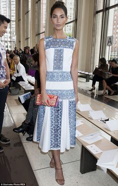 Model perks: Lily Aldridge took in a stylish show at the Tory Burch spring collection unveiling on Tuesday during New York Fashion Week at Lincoln Center