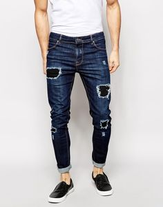ASOS BRAND ASOS Super Skinny Jeans With Rips