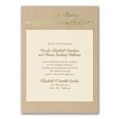 Keep things natural with this beautiful invitation. We love the ecru invitation on the kraft backer and the foil twig design at the top is to die for! Ivory Wedding Invitations, Wedding Invitation Trends, Elegant Invitations, Invitation Design, Invites, Wedding 2017, Home Wedding, Rustic Wedding, Price Of Stamps