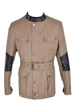 New Belstaff Men $2,495 Peterlee Khaki Cotton Leather Military Coat Jacket~42 52 #Belstaff #Military