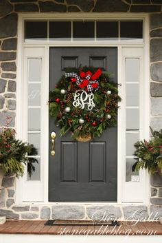 Beautiful front door entry for Stone Gable at Christmas