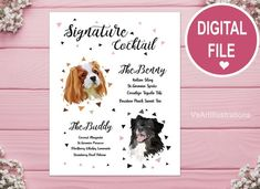 Custom Two Pets Signature Drink Sign For Wedding Bar Dog