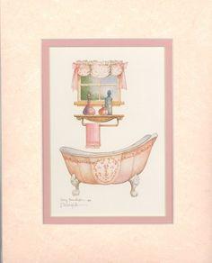 Victorian Bath I 10 x 8 lithograph | CShoresInc - Print on ArtFire