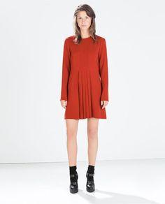 DRESS WITH BOX PLEATS IN THE FRONT Moda Zara, Zara Fashion, New Fashion, Autumn Fashion, Vestidos Zara, Next Clothes, Work Clothes, Zara Dresses, Zara Women