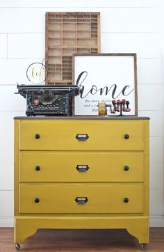 Chartreuse / Yellow DIY painted dresser in eco-friendly All-in-One Decor Paint from Country Chic Paint. Limited edition bohemian paint color, Rhapsody. Bold, bright painted furniture, perfect for adding a pop of color to your decor.