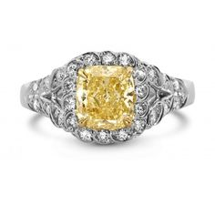 3.98 Ct Cushion Cut Fancy Yellow Halo Diamond  Engagement Ring QF3006