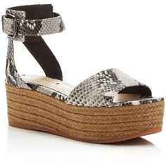 Via Spiga Nemy Snake-Embossed Espadrille Flatform Sandals (410 AED) ❤ liked on Polyvore featuring shoes, sandals, via spiga shoes, flatform platform sandals, flatform sandals, ankle tie espadrilles and ankle tie shoes