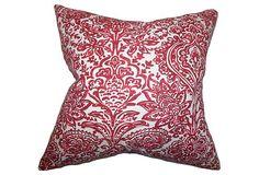 Shiloh 18x18 Pillow, Carmine   One Kings Lane
