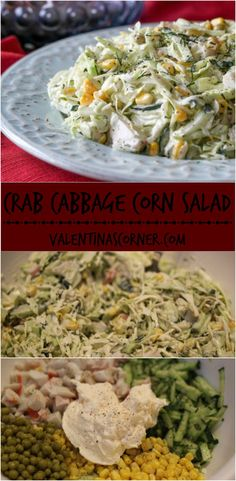 Crab, Cabbage Corn and Cucumber Salad. ValentinasCorner.com