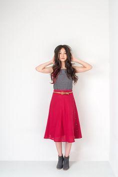 Madras Midi Skirt