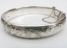 Hinged bangle, Chester silver, Charles Horner, engraved bracelet, convex band - http://designerjewelrygalleria.com/charles-horner/hinged-bangle-chester-silver-charles-horner-engraved-bracelet-convex-band/
