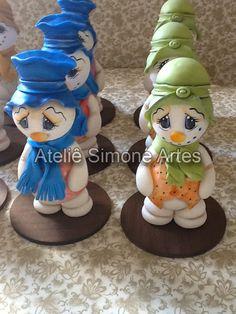 Enfeites de Natal - Bonecos de Neve em Biscuit - Ateliê Simone Artes