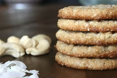 #paleo Coconut Cashew Cookies: 1 1/2 cups raw cashews; 1 cup unsweetened shredded coconut; REPLACE 1/3 – 1/2 cup granulated sweetener with 1/4 cup honey; 1/4 teaspoon vanilla beans, about 2 beans; 1/4 teaspoon baking soda; 1/4 scant teaspoon salt; 1/4 cup virgin coconut oil, melted; 2 tablespoons full fat coconut milk