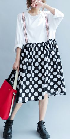 2017 Summer dotted loose cotton dress fake straped dresses causal maternity dress plus size