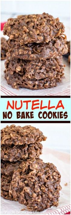 Nutella No Bake Cookies - these easy cookies are loaded with coconut, oats, and chocolate spread. Awesome no bake dessert recipe!