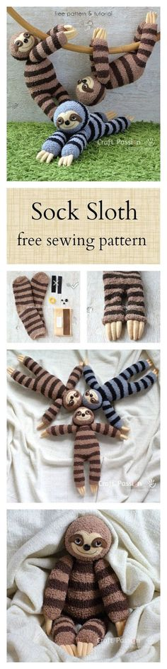Smie, the sock sloth. Free pattern #Sockanimals