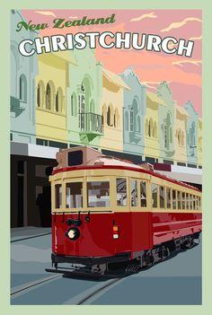 Vintage Poster Christchurch New Zealand - Vintage Travel Poster Poster Retro, Poster S, Vintage Travel Posters, Vintage Postcards, Vintage Ads, Poster Ideas, Vintage Modern, Etsy Vintage, Posters Decor