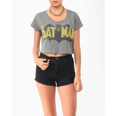 Cropped Batman Tee ($15) ❤ liked on Polyvore