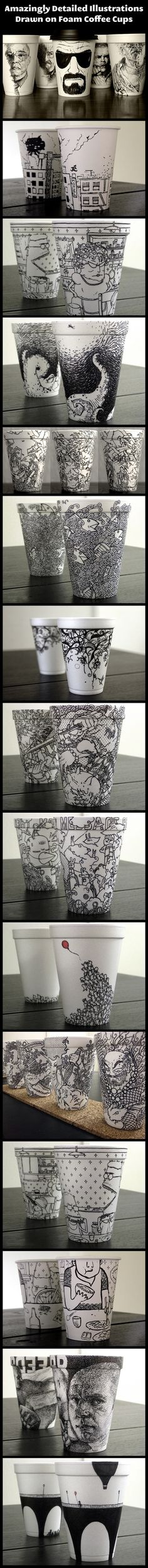 Foam cup art. I love the tiny people with the balloon could do with sharpie on dollar store mugs and cure in oven 425 for 35 minutes.