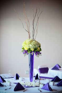 tall centerpiece  hydrangeas  stock  roses  hypericum berries  curly willow