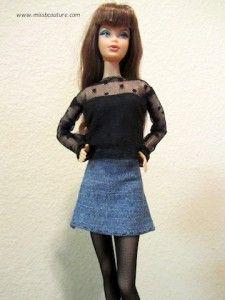 Barbie black long sleeve veil shirt Tutorial