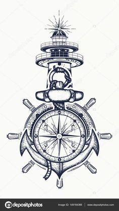 72604032 anchor steering wheel compass lighthouse tattoo art symbol of maritime adventure tourism travel old 13 Kunst Tattoos, Body Art Tattoos, Tattoo Drawings, New Tattoos, Tattoos For Guys, Sleeve Tattoos, Bird Tattoos, Feather Tattoos, Nature Tattoos