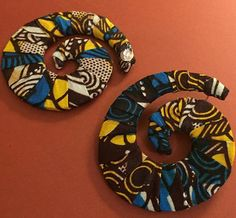 Funky Large Kente Swirl Post Earrings by GetYourFleekOn on Etsy