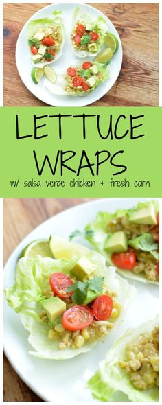 Dinner in 20 minutes! Lettuce wraps with salsa verde chicken and fresh corn.