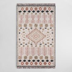 A southwestern motif in dusty spice-red, pink, black and tan against an ivory ground gives our tufted rug its boho inspiration. Pastel Interior, Gray Interior, Interior Doors, Affordable Rugs, Rug World, Boho Bathroom, Sheepskin Rug, Hand Tufted Rugs, Large Rugs