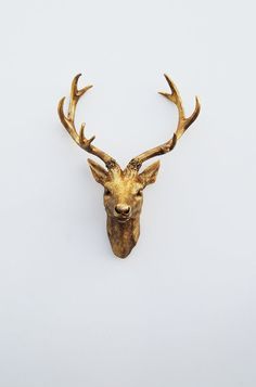 White Faux Taxidermy - The Compton - Antique Gold Resin Deer Head- Antique Gold Deer Antlers Mounted- Faux Head Wall Mount