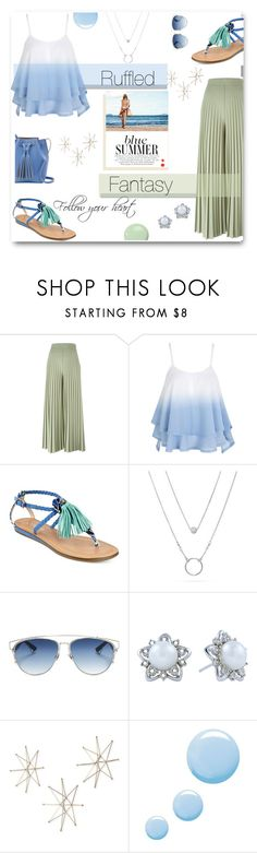 """Ruffled Fantasy"" by deeppurplesea on Polyvore featuring Givenchy, WithChic, GUESS, Christian Dior, Uttermost, Topshop, Summer, summerstyle and ruffles"