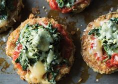 Eggplant Parmesan with Creamed Spinach - Vegetarian Times Vegetarian Times, Vegetarian Main Dishes, Vegetarian Entrees, Vegetarian Cooking, Vegetarian Italian, Veggie Recipes, Cooking Recipes, Healthy Recipes, Entree Recipes