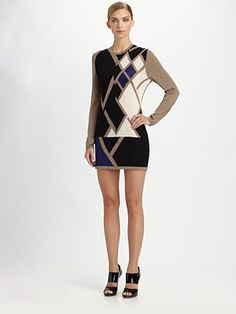 Pringle of Scotland  Graphic Argyle Cashmere Dress